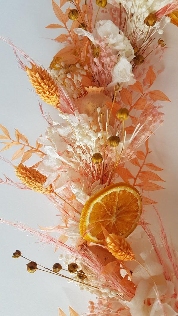 droogbloemen krans oranje wit gerdoogde bloemen webshop